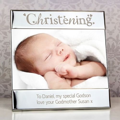 Personalised Silver Christening Square 6x4 Frame